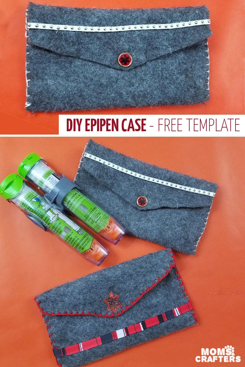 Create an epipen case using this free printable craft template / sewing pattern and some felt! This is perfect for food allergy moms to keep epinephrine handy! #allergy #diy #momsandcrafters