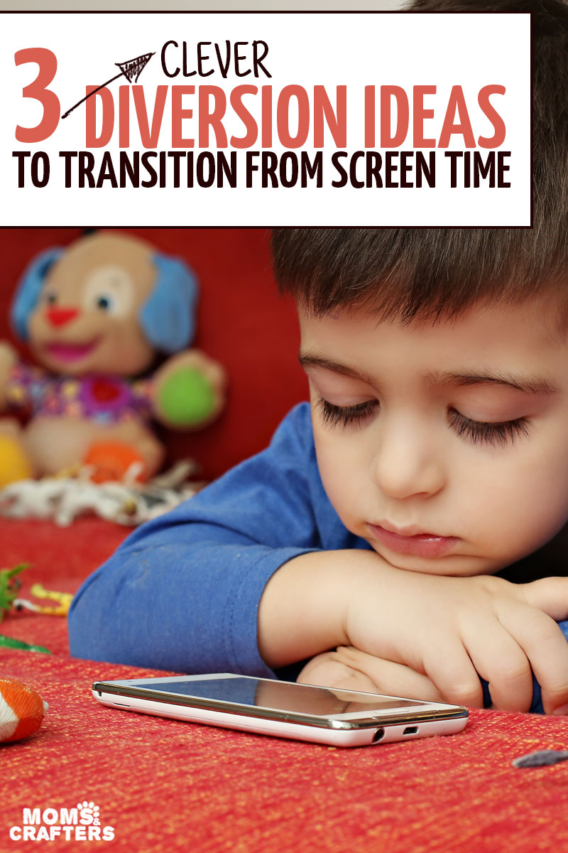 If you're stuggling with how to limit screen time, these diversion ideas will help you transition from screen time to activities your kids WANT to do! #parenting #toddlers #momsandcrafters
