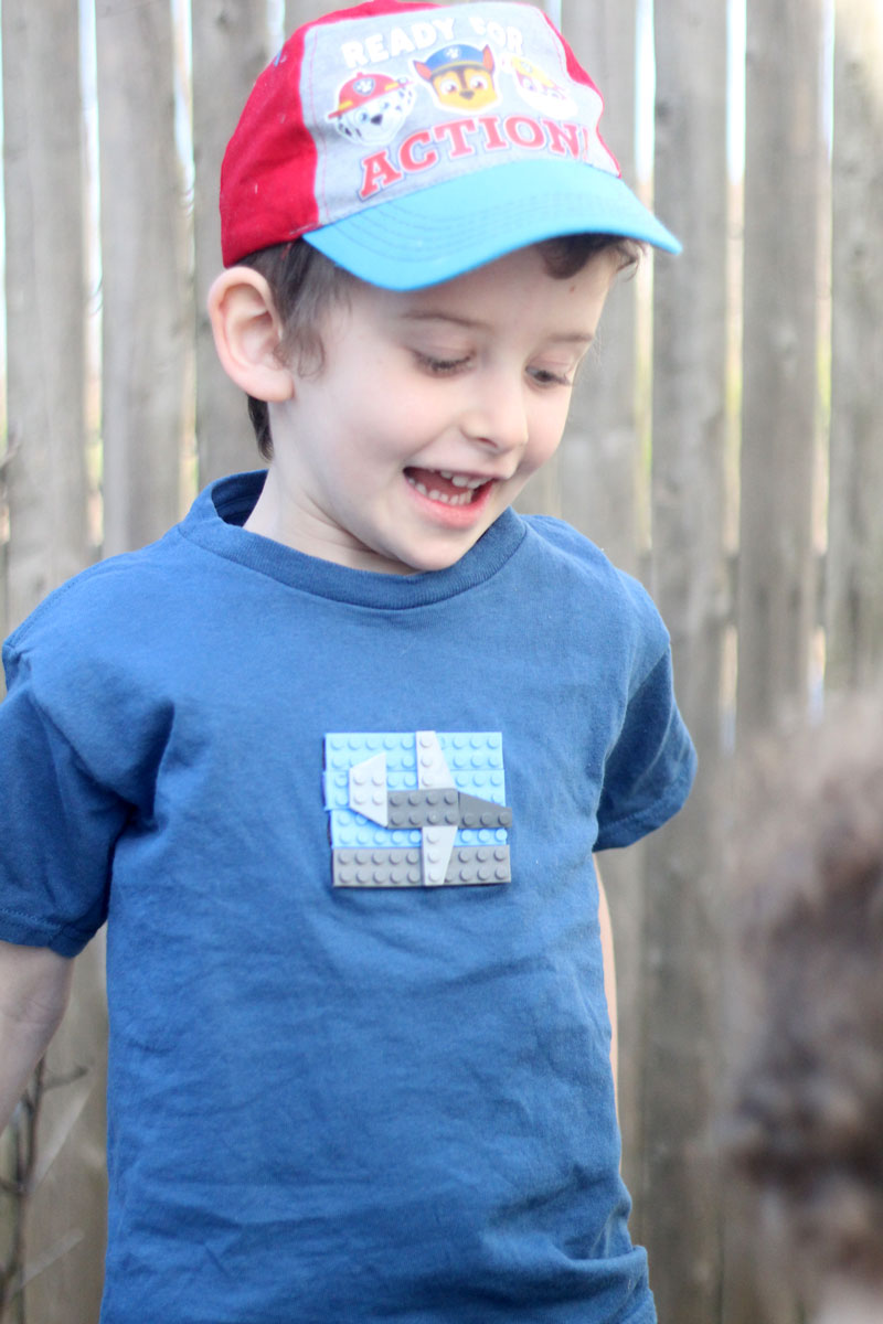 This craft uses brick tapes and real LEGO bricks to make a DIY LEGOs t-shirt for boys or girls.