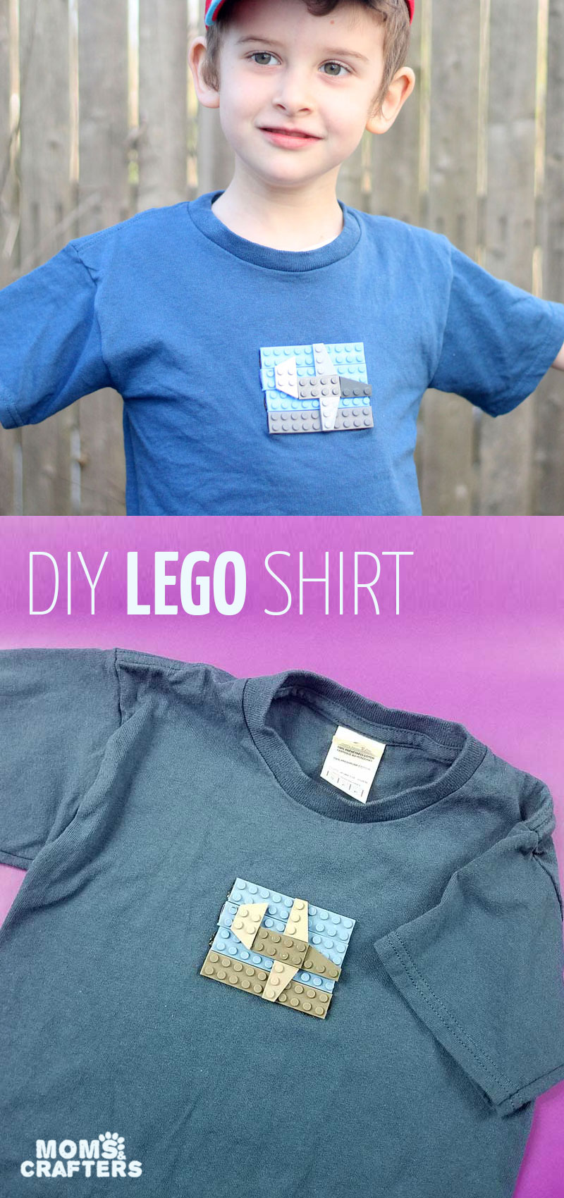 Click for instructions to create an adorable DIY LEGOs t-shirt for your boy or girl! This cool plain t-shirt update is so cute for LEGO fans and one of my favorite LEGO crafts ever! #lego #diy #t-shirt #fashion #kidfashion #legofan #momsandcrafters