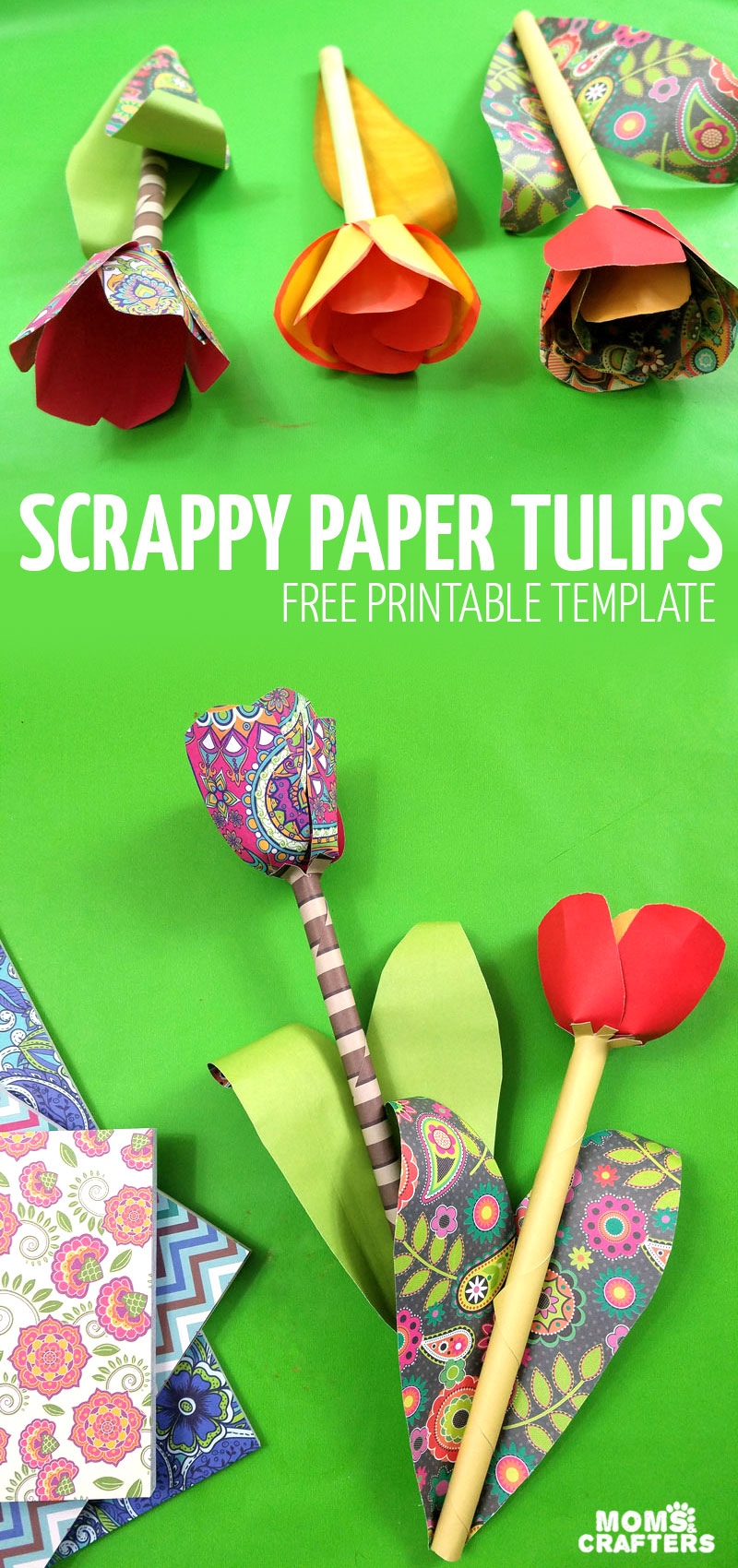 Make your own paper tulips with this free printable paper flower template! Try this fun flower spring craft for teens, tweens, and grown-ups using scrapbook paper or alcohol markers. #papercrafts #paperflowers #momsandcrafters