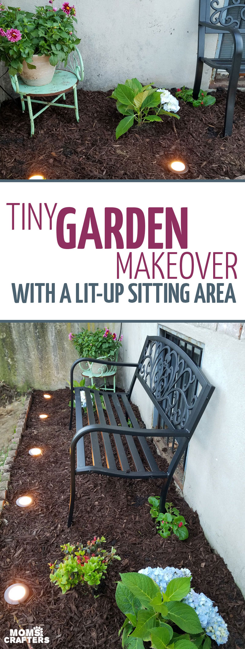 You'll love this tiny garden makeover featuring a sweet eclectic sitting area. This city garden idea is perfect for tiny spaces and includes a parkbench. This DIY lawn and garden makeover was simple and easy to complete #garden #citylife #momsandcrafters