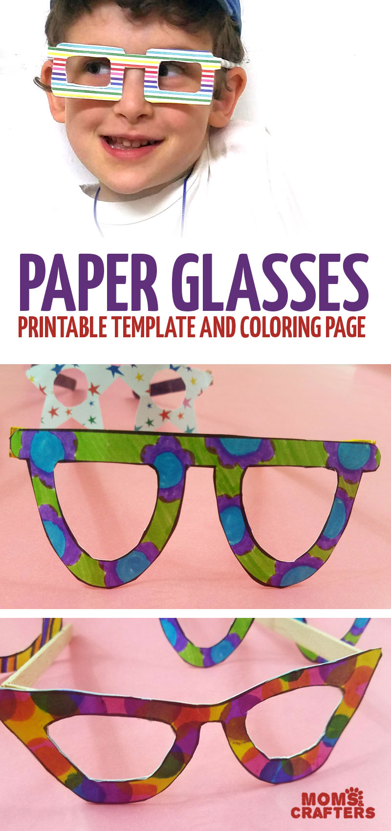 Make your own paper glasses with a printable template! You can use these as a coloring page and color in before crafting or use scrapbook paper to make this fun and funky papercraft for kids. #paper #papercraft #kidscraft
