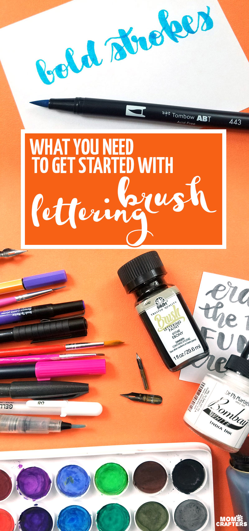 Click for some brush lettering 101 tips! These are teh best brush pens for lettering, as well as the best hand lettering brush for using ink or watercolors #lettering #brushlettering #calligraphy #brushcalligraphy #handlettering #watercolors