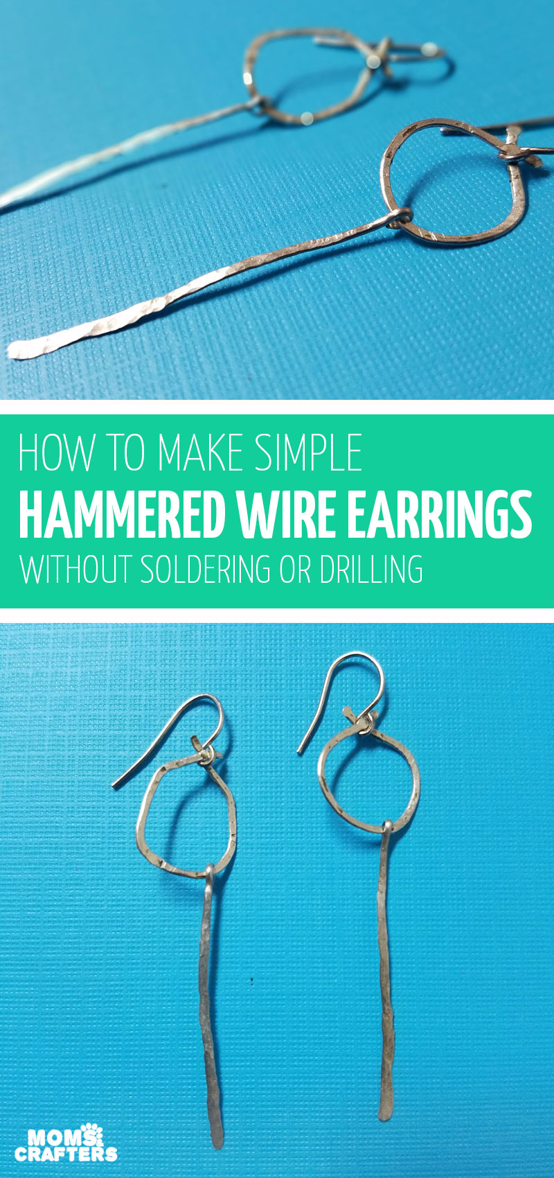 Click to learn how to make wire earrings with a cool hammered finish in this hammered jewelry making tutorial for beginners! #jewelrymaking #diyjewelry #wirewrapping #wirejewelry #hammered jewelry