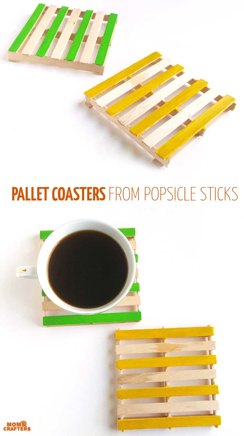 Make these fun craft stick pallet coasters using popsicle sticks! A fun popsicle stick craft for tweens and teens - as well as adults!