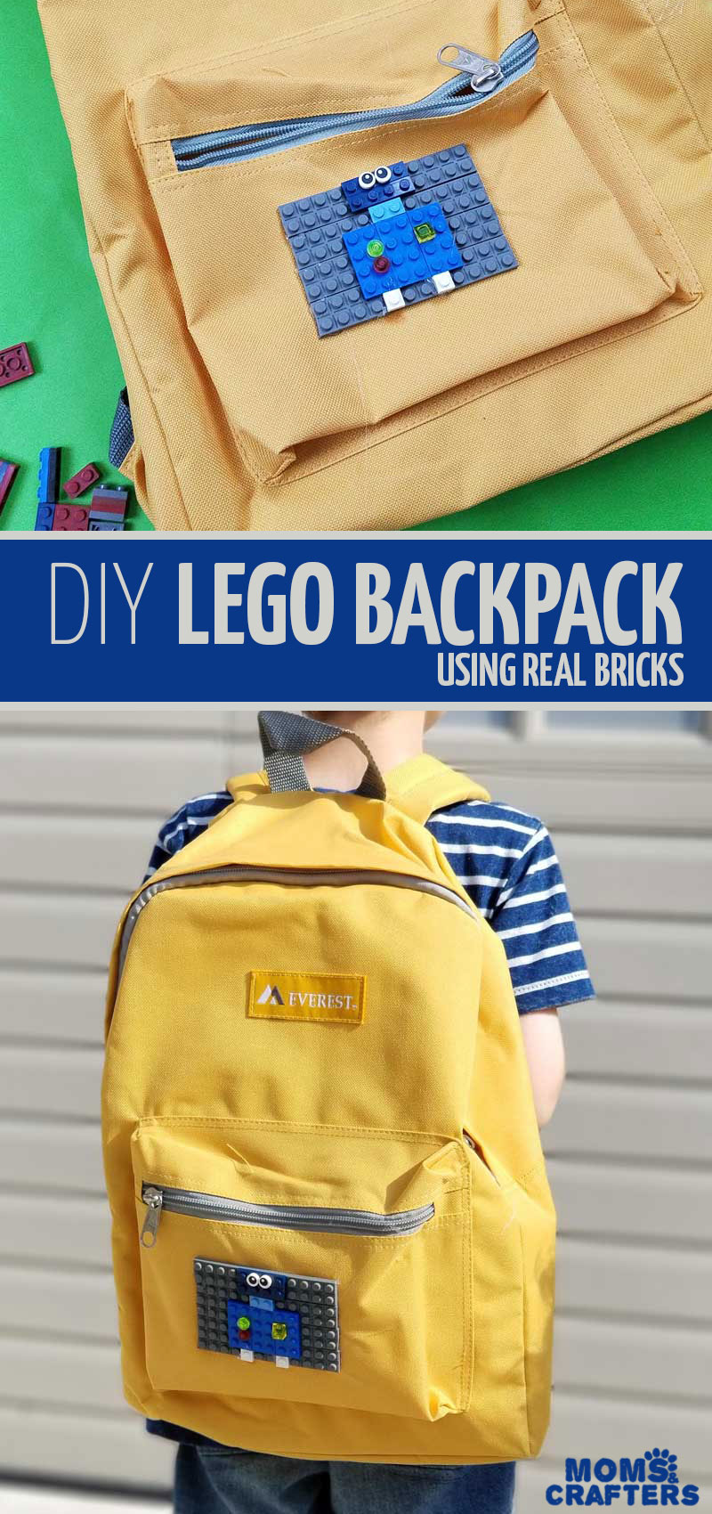 Click to learn how to make your own DIY LEGO backpack with this adorable back to school craft for kids, teens, and tweens! This awesome DIY project for boys and girls is a fun backpack craft to make your own book bag for school #backtoschool #lego #crafts