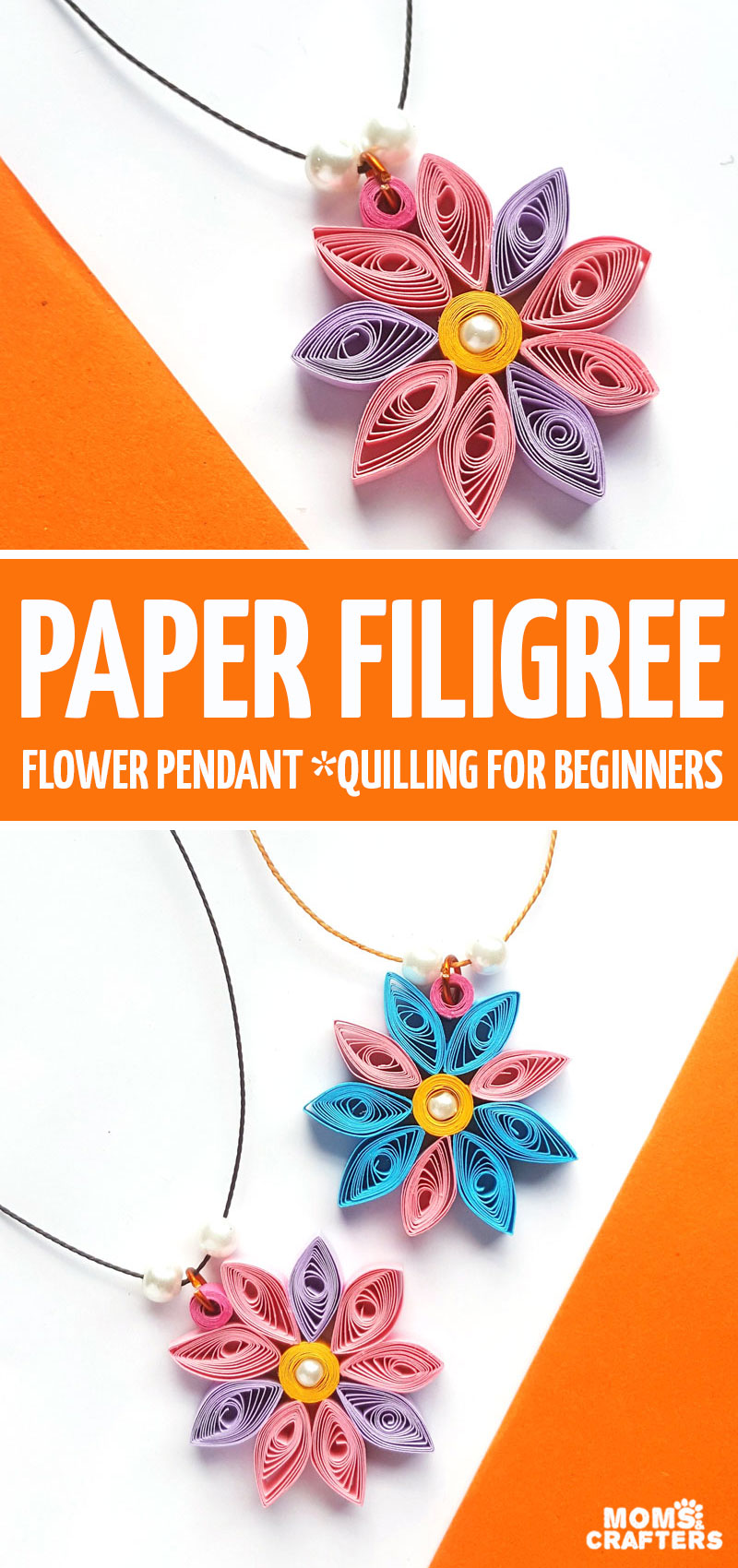 Click for the tutorial and to learn how to make these beginner paper quilling flowers and then turn them into fun paper filigree pendants! This paper quilling tutorial and ideas for beginners is perfect for kids and teens too! Quilled paper jewelry is a great way to start. #paperquilling #jewelry #craftsforkids