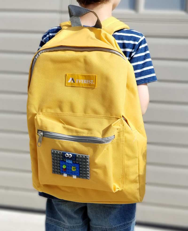 You'll love this adorable robot DIY LEGO backpack craft using real bricks!