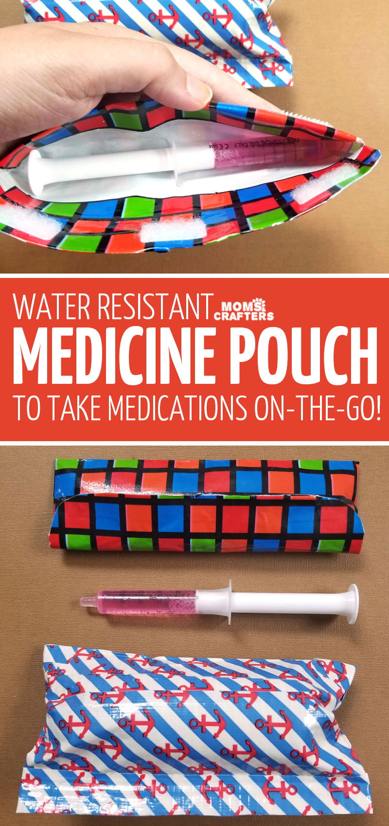 Click to learn how to make a water resistant medicine pouch so that you can take single medicine doses on the go without leaking! You'll love this mom hack and parenting tip for dealing with sick kids #parentingtips #momhack #momhacks