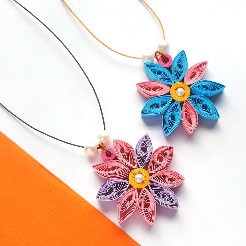 Paper quilling flower pendant paper quilled craft for beginners easy paper quilling tutorial for beginners mightylinksfo