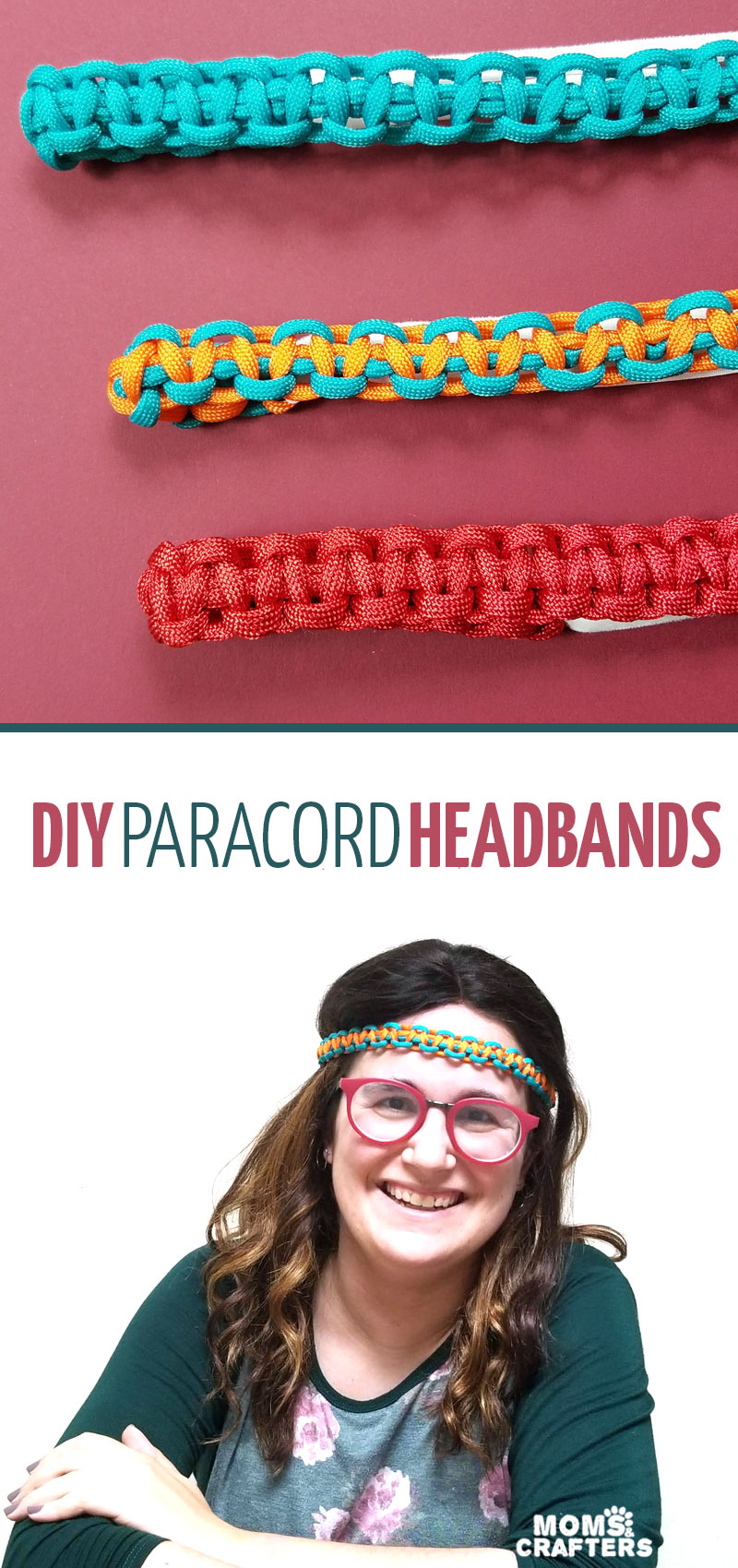Click to learn how to make your own paracord headbands with this unique paracord craft! If you're looking for cool paracord projects, these weaves instructions teach you the basics for beginners. #paracord #diy #crafts