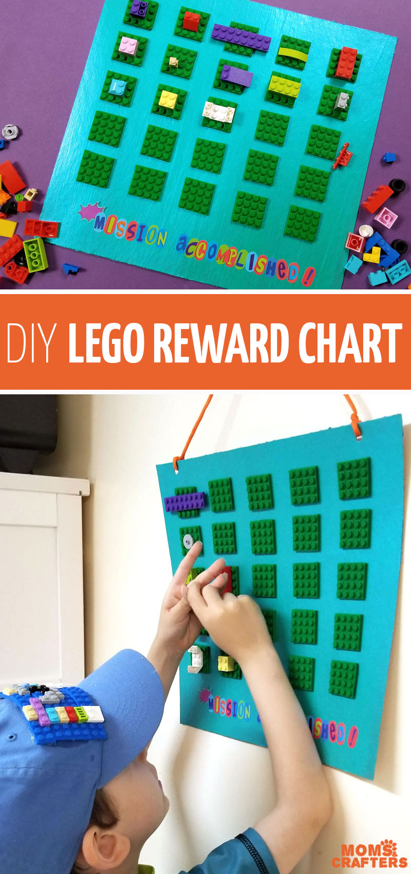 Click to learn how to make your own DIY reward chart for kids using brick tape! This LEGO rewards chart is the perfect incentive for boys and girls who love LEGO and want to earn some for their collection! #lego #diy #craftymom