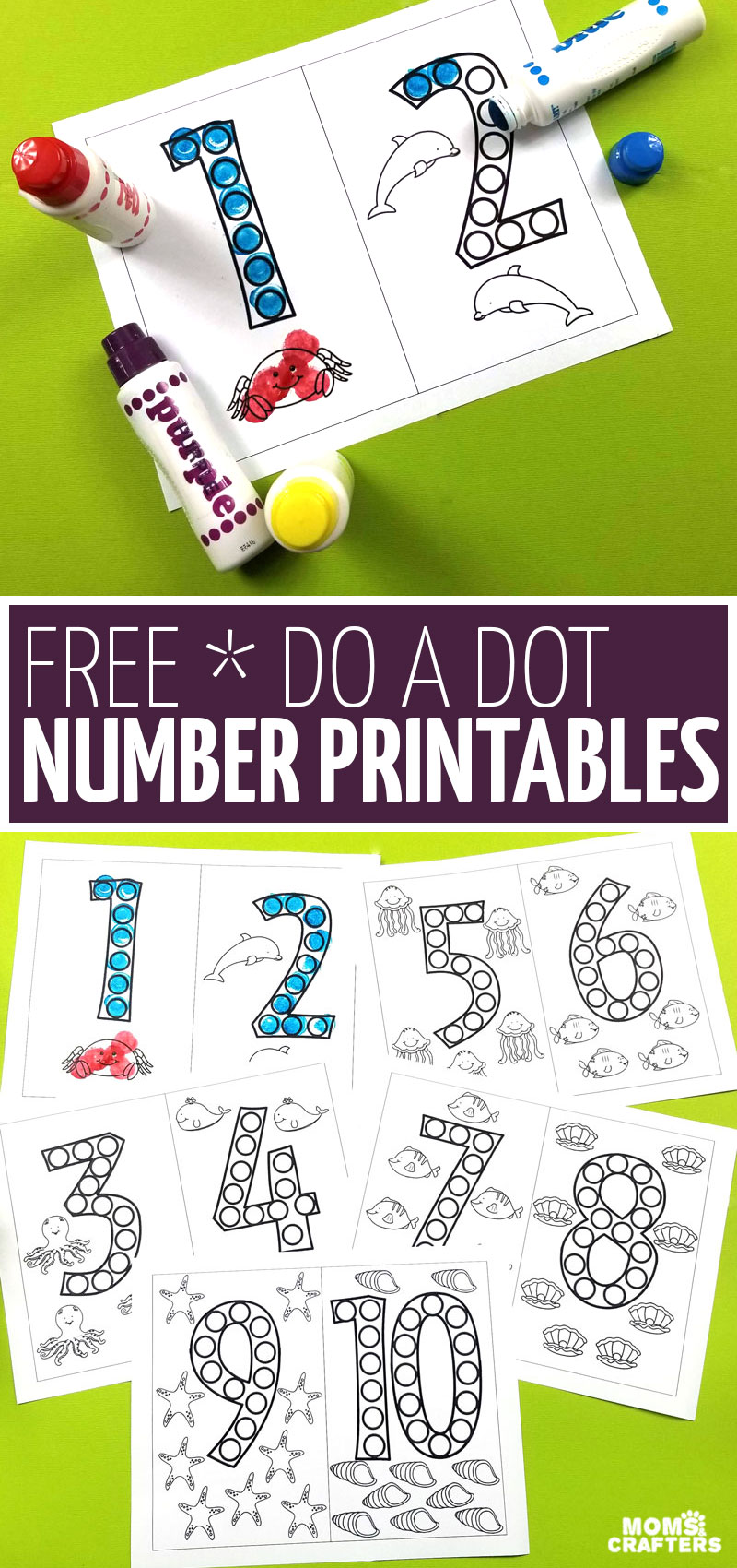 These free do a dot number printables are a great way for kids to have fun learning number forms without worksheets! They're great for at home, for pre-k or kindergarten prep, and a great dot art coloring pages for preschoolers.
