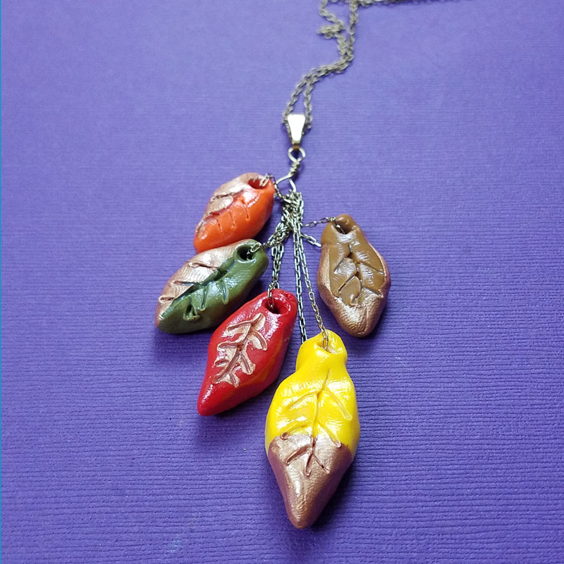 Leaf Necklace Make A Cascading Polymer Clay Pendant For Fall