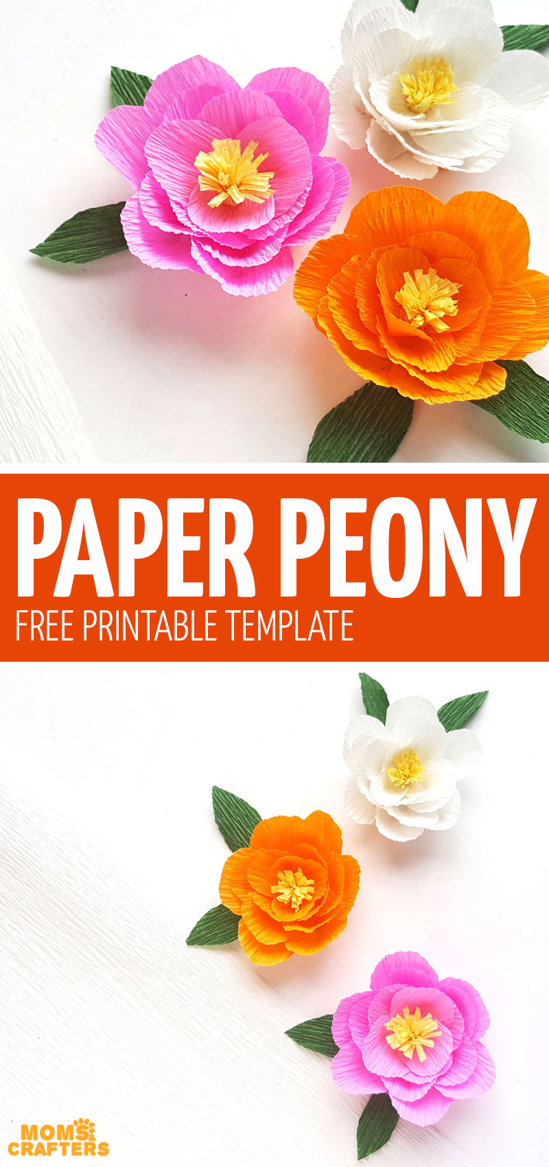 Click if you love making paper flowers and want to download this free printable crepe paper peony template! It's so much fun and one of my favorite paper flowers craft for beginners.