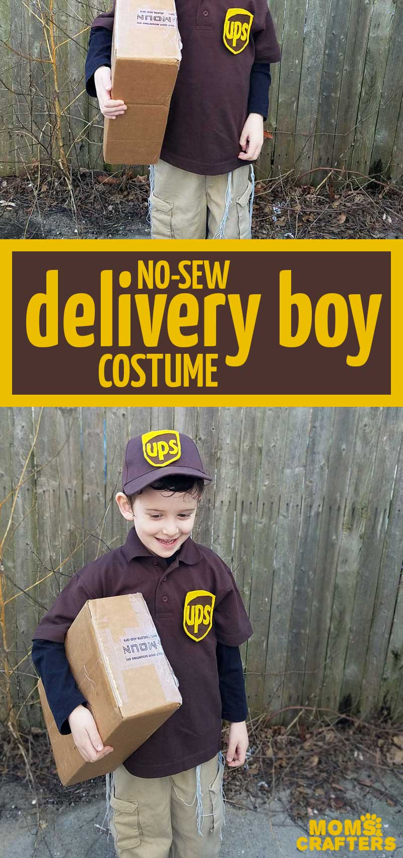 Click to learn how to make your own UPS delivery costume for boys or girls! This easy no-sew kids costume is made from real clothing that you can reuse when you're done and it's perfect for Halloween or Purim. #diycostume #halloween #crafts
