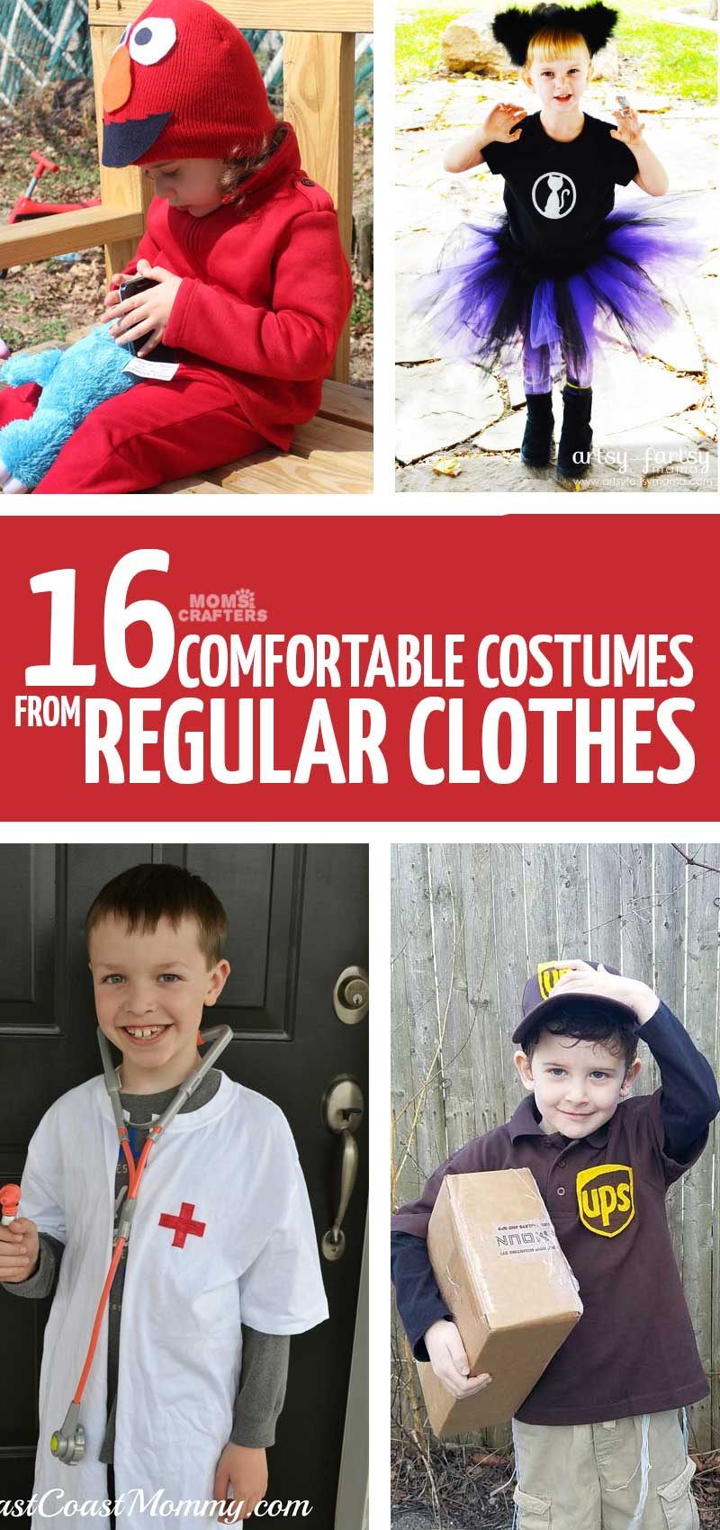 Use your kids' real clothing to make these fun Halloween costumes! These easy costumes with normal clothes include ideas for boys and girls too.