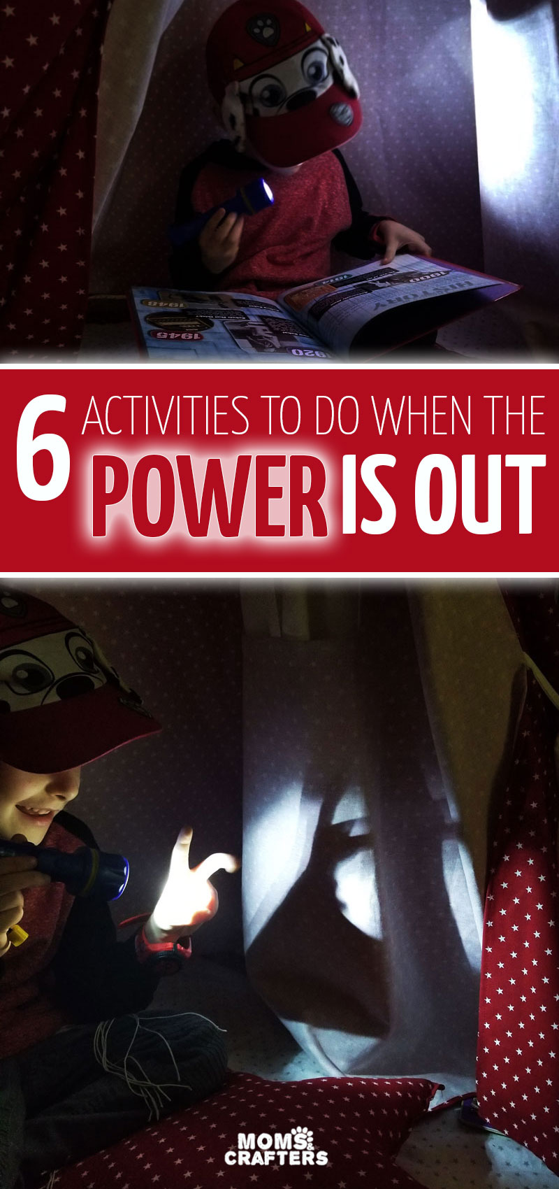 Click for 6 fun and easy activities for kids for when the power is out! These fun ideas are super easy and include survival tips for moms during power outages, storms, hurricanes, and blackouts.