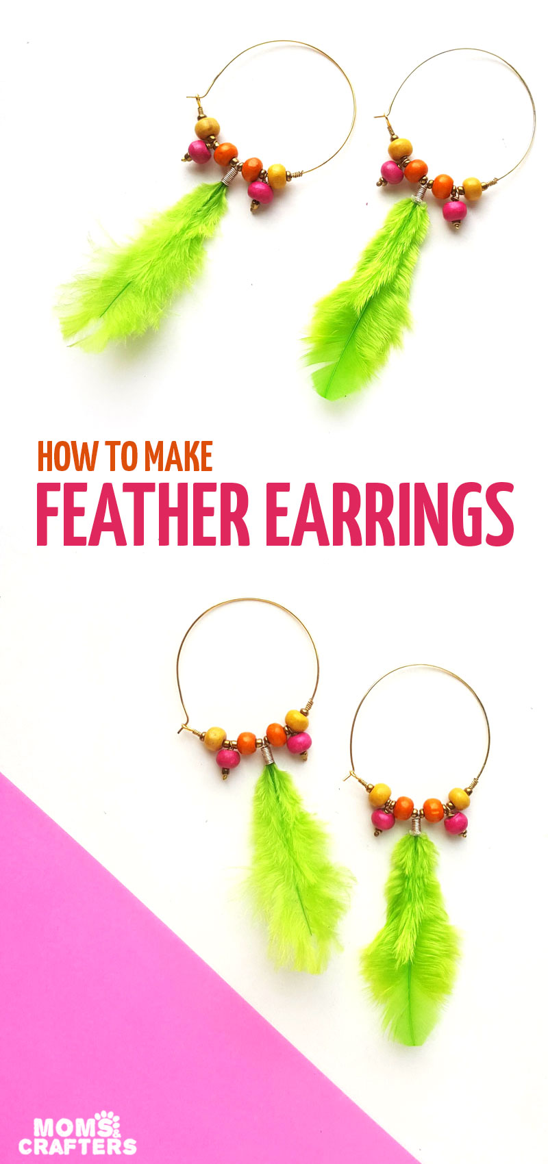 Create your own DIY feather earrings - a boho chic DIY jewelry making project for beginners!