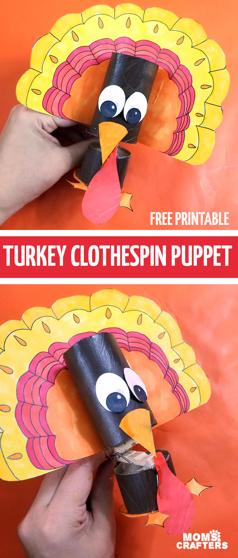 Click to print and download your own turkey puppet template. Make these super adorable thanksgiving crafts using recycled materials - including toilet paper rolls and clothespins! Perfect for kids!