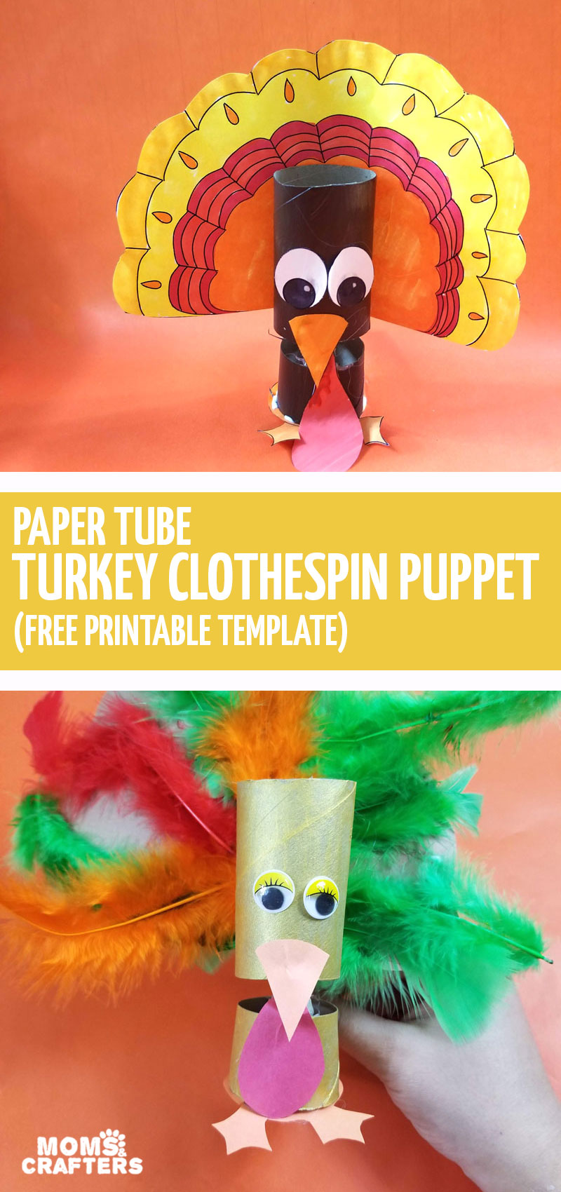 Make your own turkey puppet with the free printable template. Color it in or craft it using toilet paper rolls, clothespins, and feathers for an adorable Thanksgiving craft for kids.