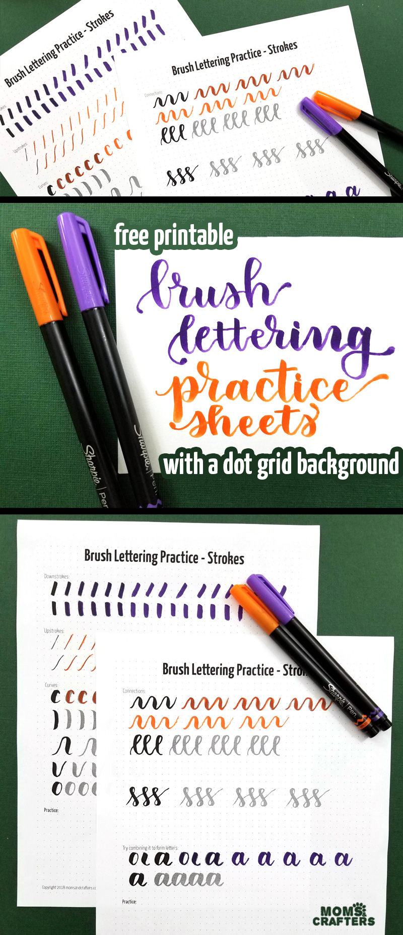 Click to download these free printable brush lettering practice sheets to learn how to do hand lettering with the basic strokes you need! #brushlettering #calligraphy #handlettering