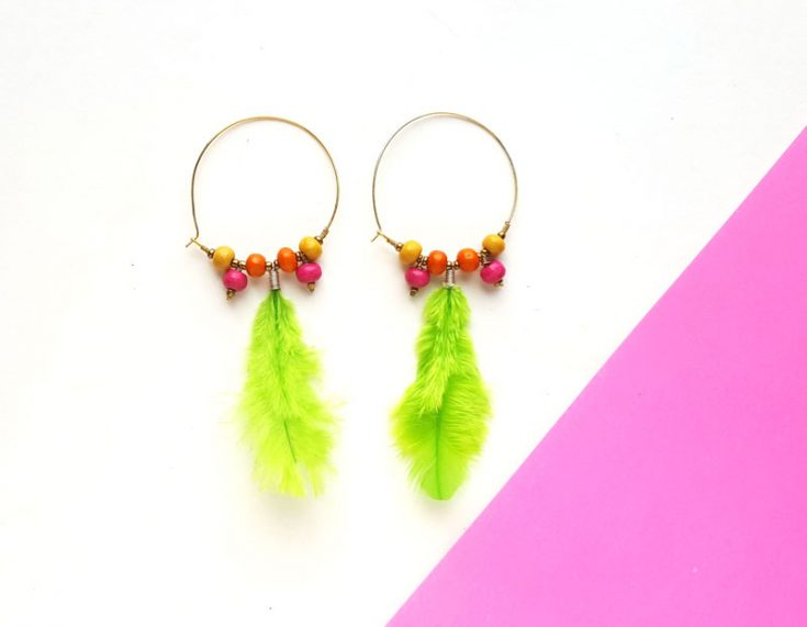 Feather Hoop Earrings