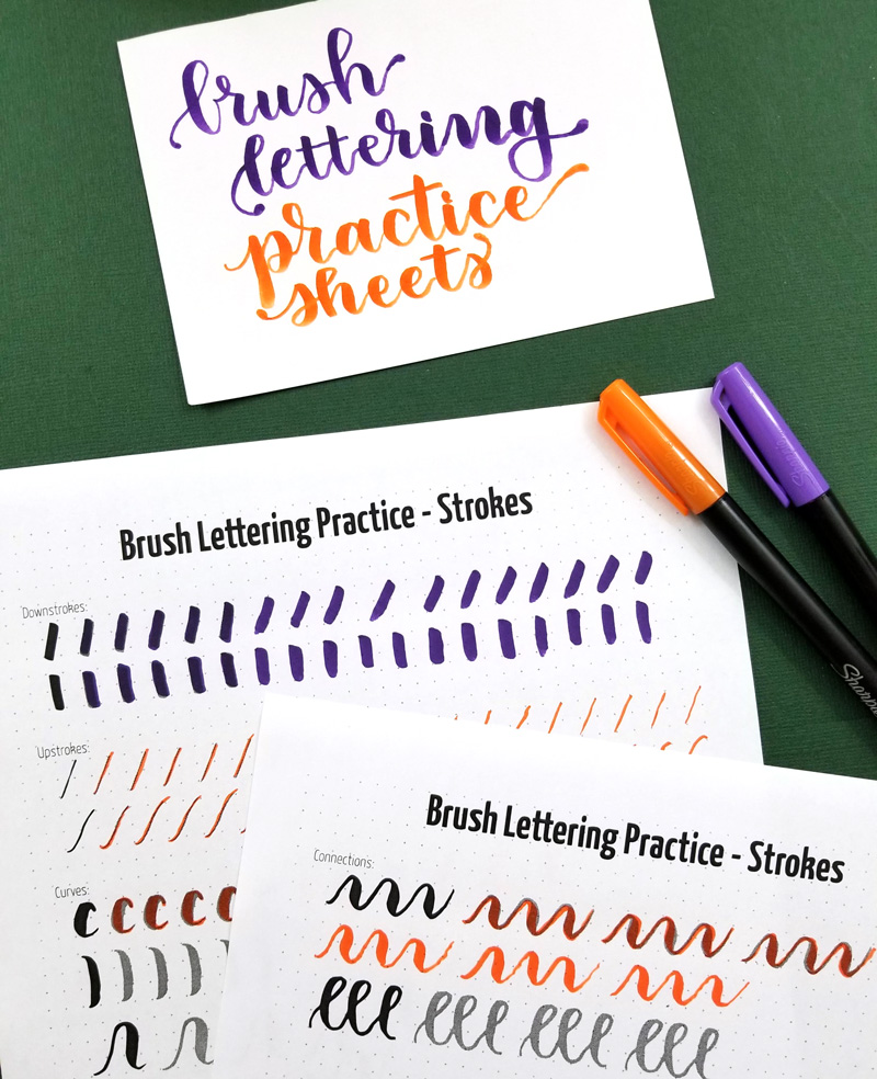 Brush lettering practice sheets - strokes