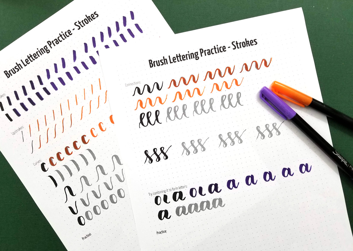 Free Printable Brush Lettering Practice Sheets Strokes Moms And Crafters