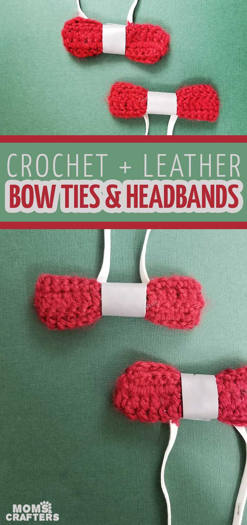 Click to learn how to crochet a bow and make your own DIY no sew bow ties and headbands! This super easy crochet project is perfect for beginners and doesn't even require a pattern to make it!