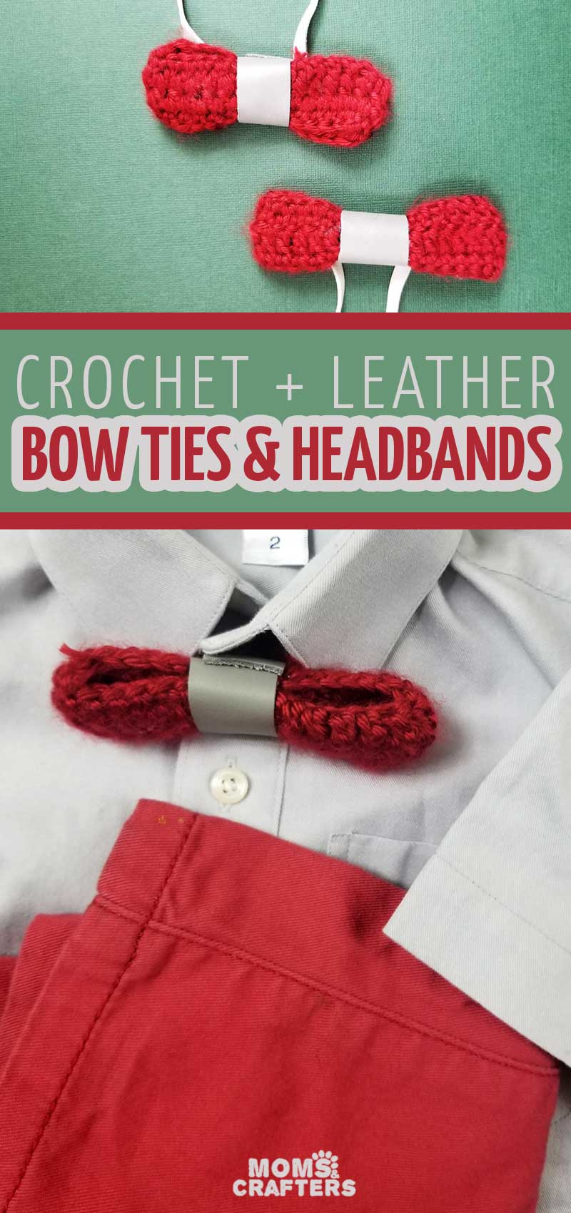 Click to learn how to crochet a bow and make the coolest leather accent bow ties and headbands - perfect holiday accessories for boys and girls!