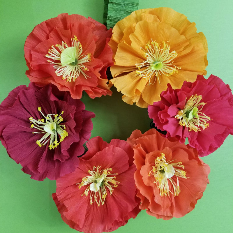 Paper Flower Wreath Crepe Paper Icelandic Poppies Moms And Crafters