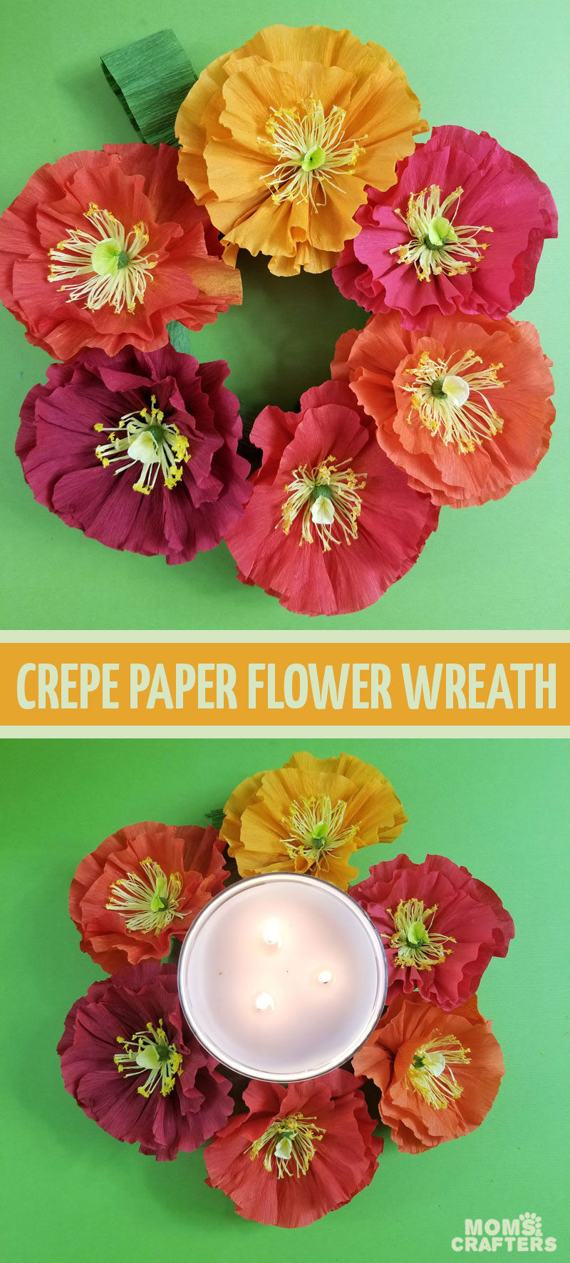 Click to learn how to make your own crepe paper flower wreath and Autumn table decor perfect for Thanksgiving!