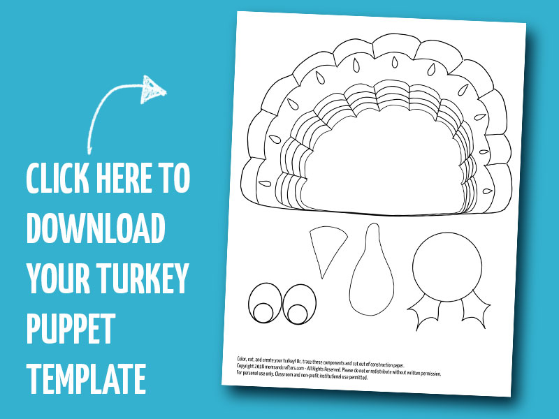 Click to download your turkey puppet template