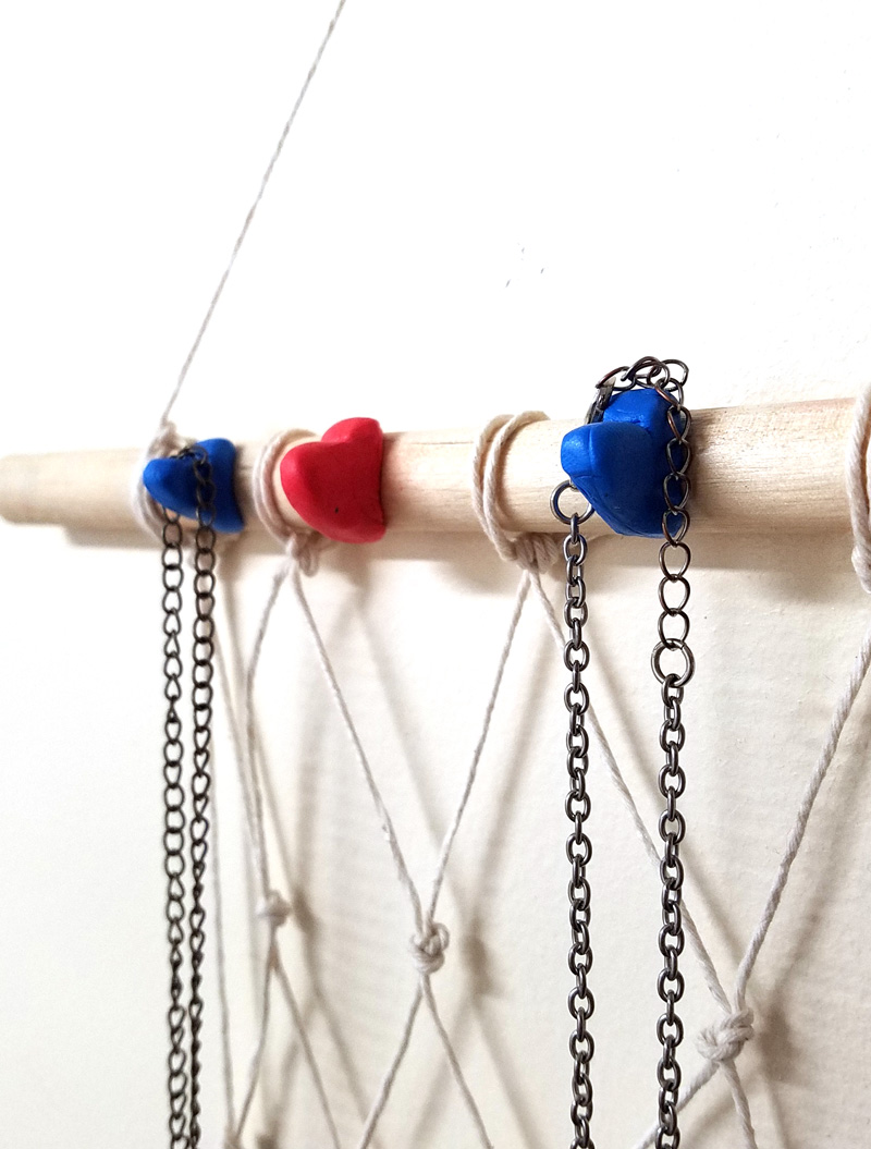 DIY Heart Hook Hanging Jewelry Organizer