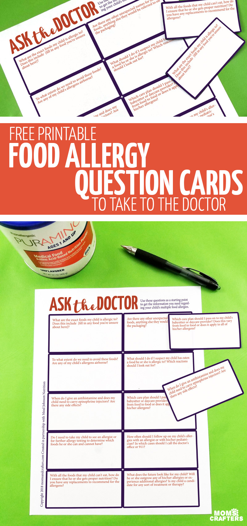 Click for information about #PurAmino and free printable food allergy question cards, perfect for parents who are dealing with kids with multiple food allergies! Ask your doctor parenting questions regarding allergic reactions, nutrition for kids with food allergies, management, and more!