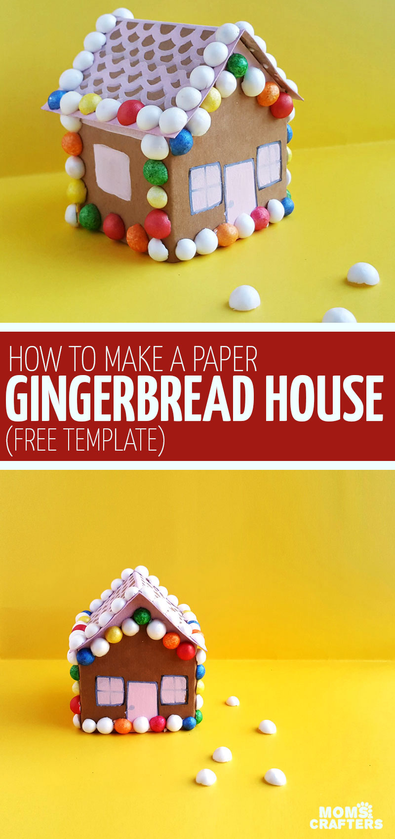 Click for the template to make this easy gingerbread house craft for kids! These easy paper houses come with a free printable paper craft template and are a fun Christmas papercraft for winter. #christmas #papercraft #paperhouses