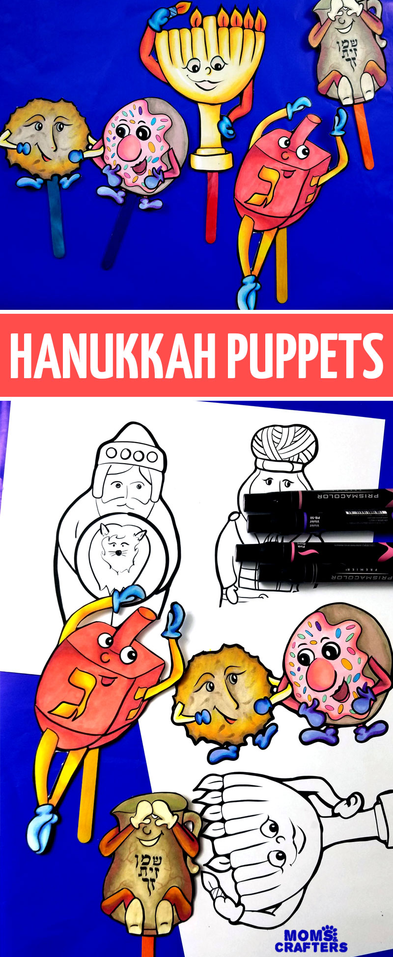 Grab n print these fun, animated Hanukkah puppets - an easy chanukah coloring pages set and activity for kids! This Hannukah paper craft is so much fun for the whole family.