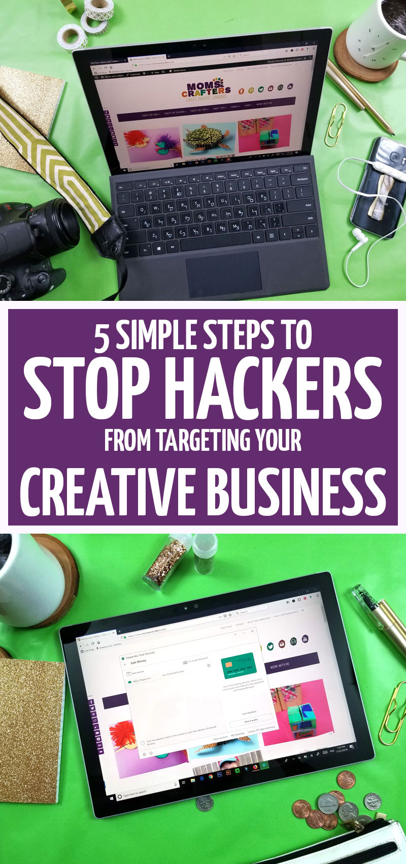 Click to learn how to stop hackers if you're a small business owner, craft seller, or other creative! This tips for selling crafts help you with digital security and are great tips for craft bloggers too! #smallbusiness #craftblogger #security