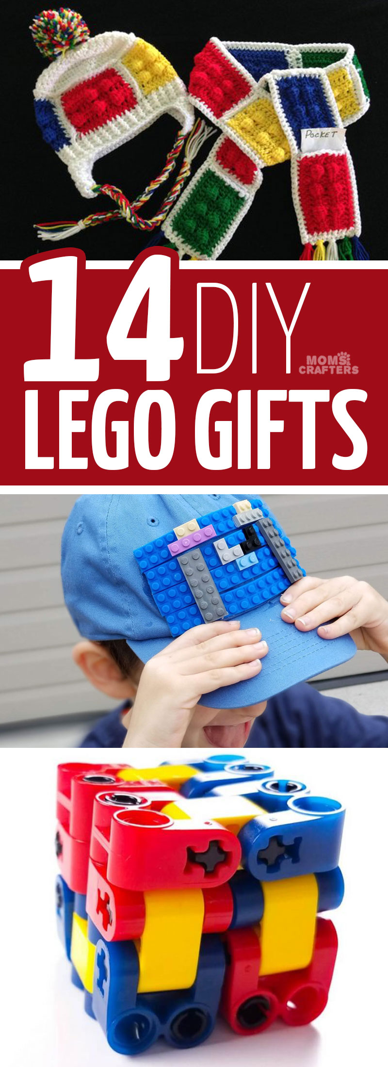 Click for 14 cool DIY lego gifts that you can craft on your own! These LEGO crafts using old bricks, and LEGO themed gift idas are perfect for teenagers, boys, girls, and preschoolers. #lego
