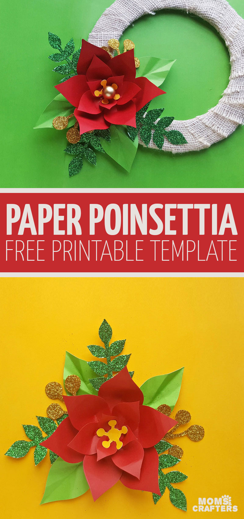 Click for instructions to make an easy DIY Christmas wreath using a Paper Poinsettia template! this easy Christmas papercrafts for kids or adults is so bright, colorful, and fun! #christmas #paperflowers #papercraft