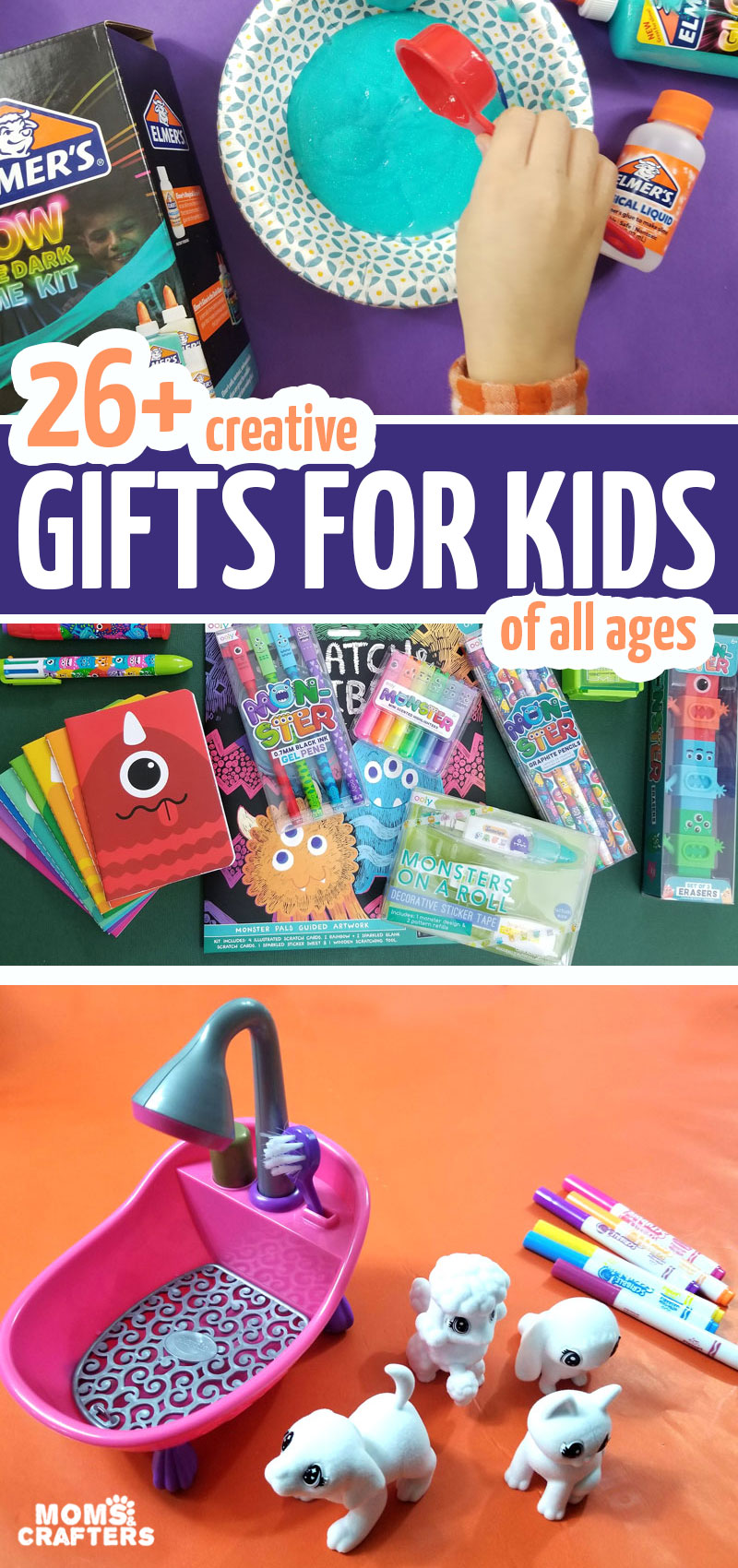 Looking for the ultimate list of gifts for creative kids? Check out this list for gift ideas for crafty kids, toddlers, teens, tweens, and preschoolers!