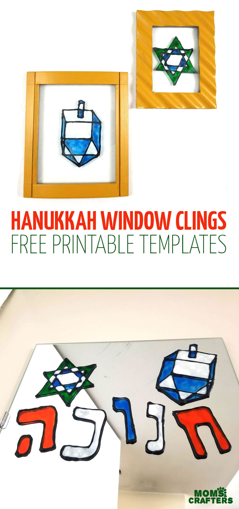 Make some fun DIY Hanukkah window clings witha super fun free printable template! This sweet Chanukah craft for kids and adults make great Hannukah decor