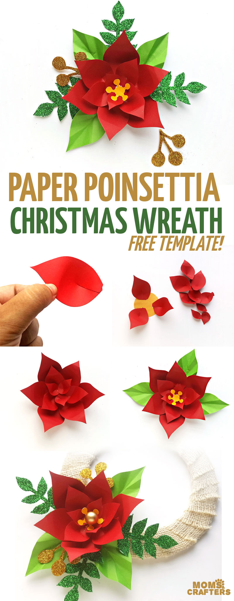 Click to learn how to make a paper flower christmas wreath using this free printable paper poinsettia template! This fun paper flower template makes a fun DIY Christmas craft for teens, tweens, and adults, and a fun paper flower home decor idea #poinsettia #christmaswreath #paperflowers