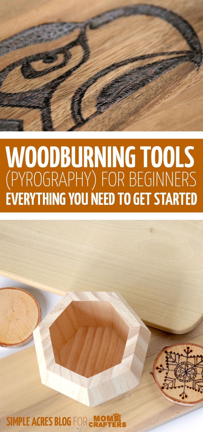 If you want to get started with wood burning, check out this list of top pyrography tools for beginners! This how to get started with woodburning tutorial is great for beginners.