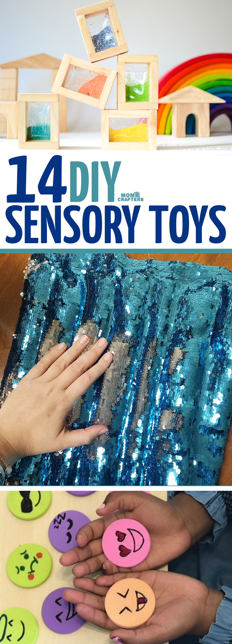 14 Cool DIY sensory toys that moms and dads can make as DIY gifts for kids of all ages! You'll find calming and texture sensory input toys for babies, preschoolers, toddlers, and all kids! #sensory #diy #toys