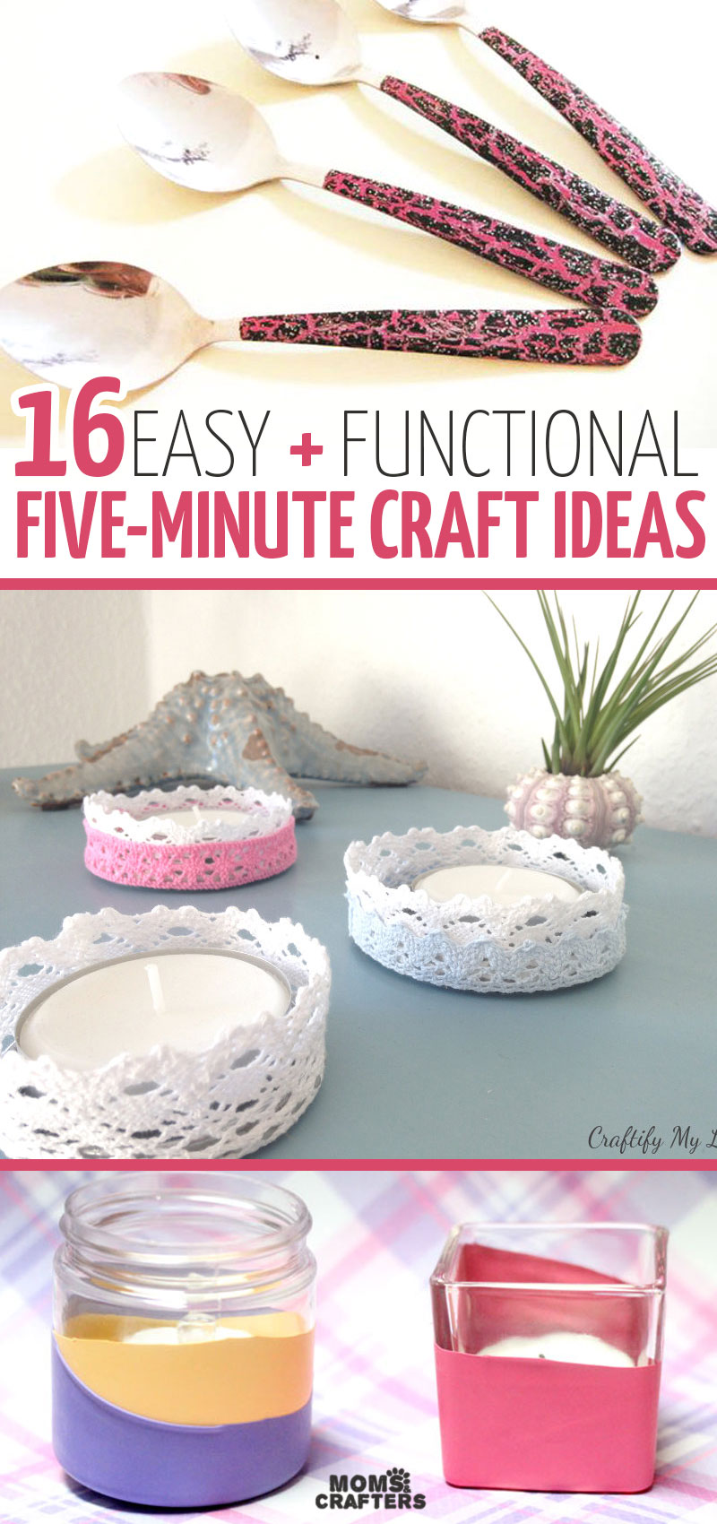 Click for the ultimate list of five minute crafts - DIY projects that you can make in 5 minutes or less! This includes home decor crafts, DIY toys, kids crafts, paper crafts, and more quick and easy craft tutorials for beginners. #crafts #diy