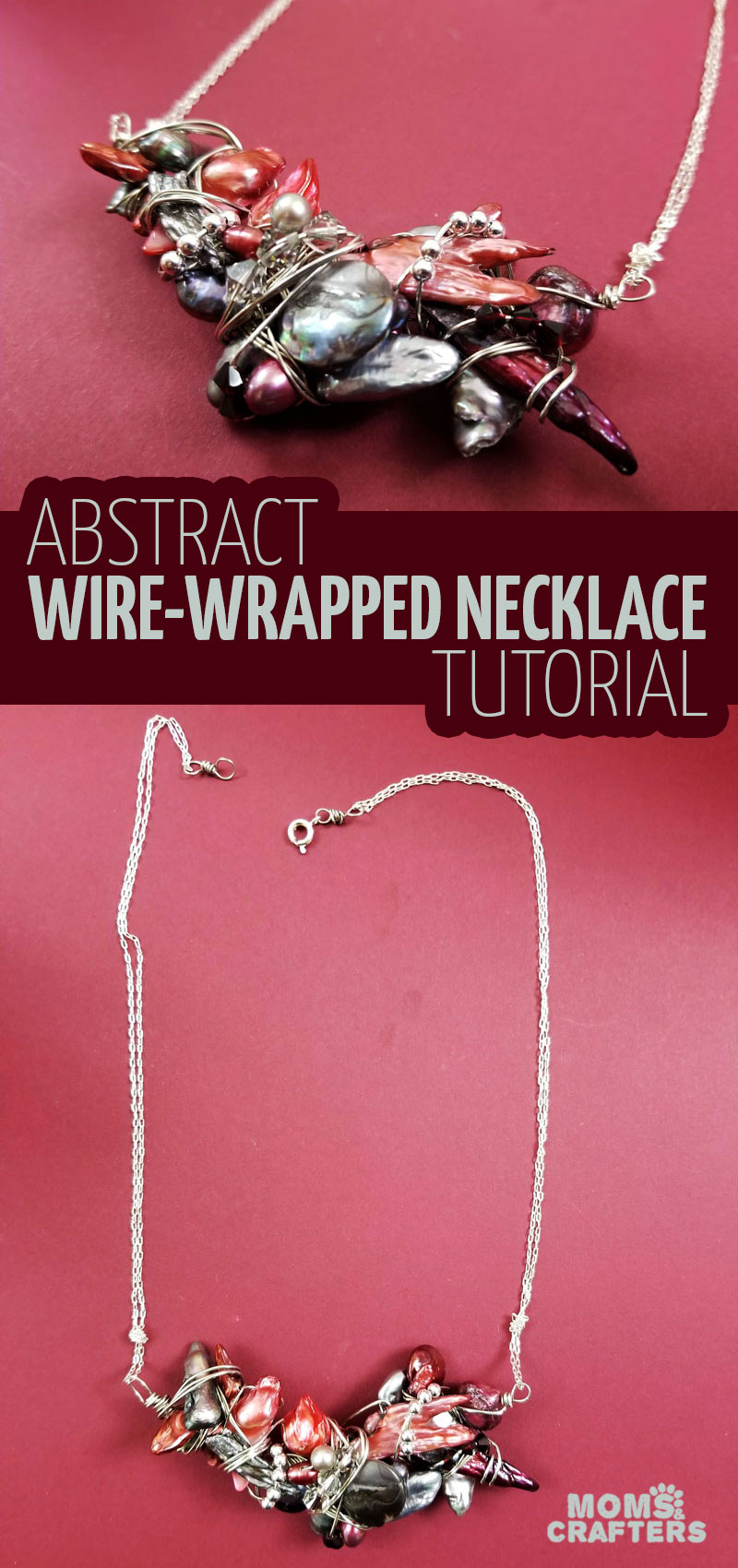 Click for a magnificent necklace wire wrap tutorial! This stunning abstract freshwater pearl stone and crystal DIY wire wrapping tutorial is a beautiful jewelry making idea and craft for the holidays or for bridesmaids too. #jewelrymaking #wirewrap #weddings
