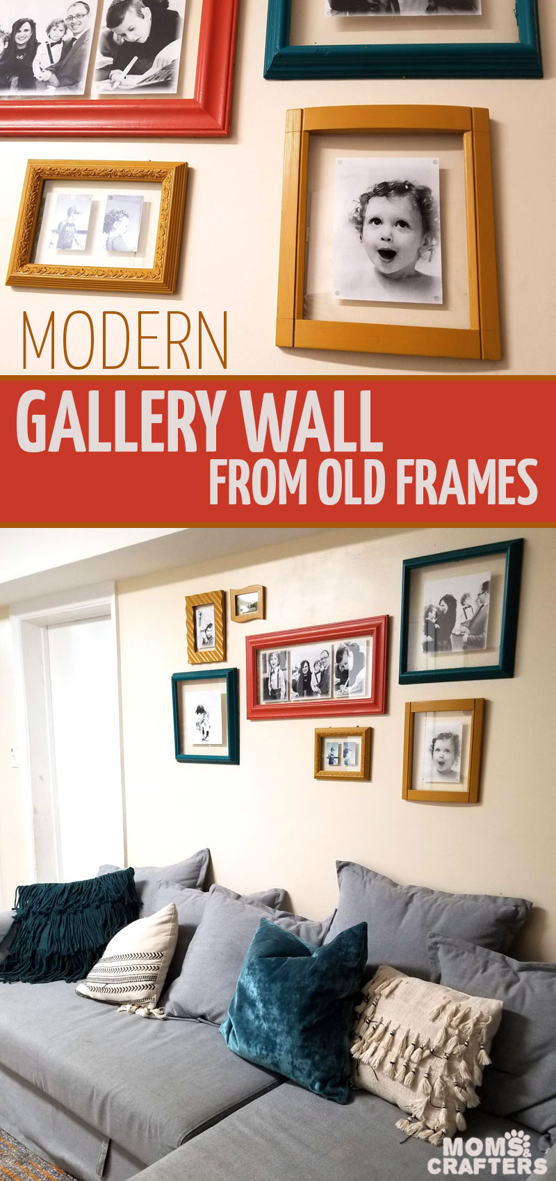 Click to learn how to create your own modern DIY gallery wall from old upcycled frames. These repurposed frames make beautiful contemporary home decor with a pop of color and an easy DIY gallery wall layout idea. #gallerywall #homedecor #upcycled